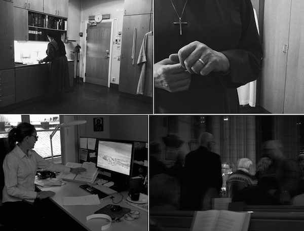 A nun in church, in a kitchen, and in an office
