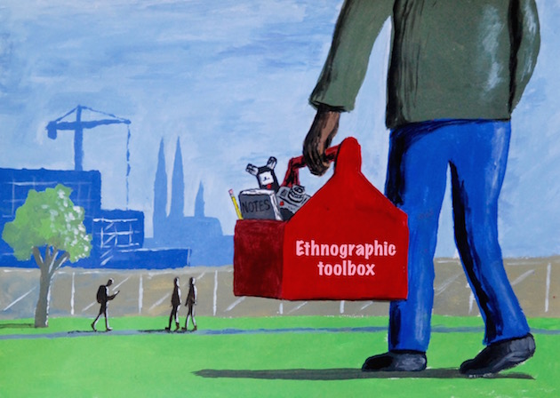 "Illustration of a person holding a box with the text ""Ethnographic toolbox"""